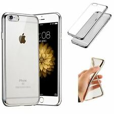 Film Verre Trempé HD + Coque Silicone Transparente Chrome Argent Iphone 6 6S 4,7