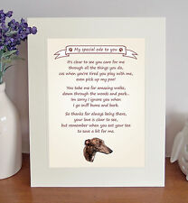 "Greyhound 10"" x 8"" Free Standing 'Thank You' Poem Fun Novelty Gift FROM THE DOG"