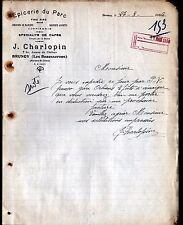 """BRUNOY (91) EPICERIE DU PARC & VINS """"J. CHARLOPIN"""" en 1936"""
