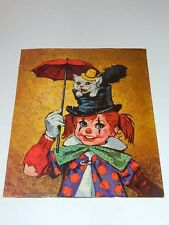 Reproduction oil painting CLOWN GIRL with CAT in HAT umbrella safety pin 1970s