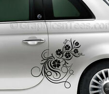 Fiat 500 Car Sticker Custom Side Graphic Decal, Flower Girly Car Sticker
