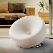 Christopher Knight Home Modern Round White Bonded Leather Accent Chair