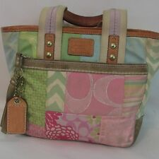 Authentic Coach 2006 Hampton's Weekend Pastel Patchwork Small Tote Handbag