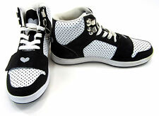 Heart Shoes Perforated Mid Strap Black/White/Perforated Sneakers Womens 7