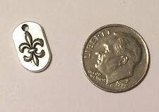 Fleur de Lis Louisiana New Orleans Saints Dog Tag Charm Silver 14 X 8mm