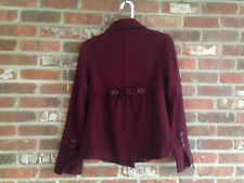 NWOT, Charlotte Russe, Burgundy, Double Breasted , Back Bow Wool Blend Peacoat L