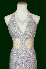 Jovani Size 4 Silver Nude Stone Prom Formal Homecoming Long Gown Halter $680