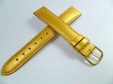 16 mm GOLD / GELB UHRENARMBAND DORNSCHLIEßE ARMBAND LACKLEDER UHRENBAND