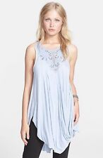 120099 New $108 Free People New World Embellished Aiden Blue Tank Tunic Top S 4