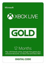 Microsoft Xbox LIVE Prepaid 12 Month Gold Membership Card Same Day Dispatch