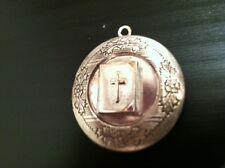 "CHRISTIAN DOUBLE PHOTO LOCKET on 18"" sterling silver chain necklace, cross bible"