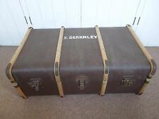 Vintage Wood & Brass Banded Travelling Trunk Coffee Table Storage Box Chest