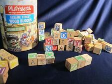 50+ vintage TOY WOODEN Alphabet BLOCKs  building ABC Playskool Sesame Street