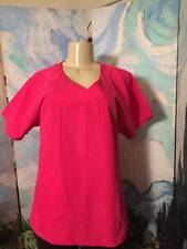 BABY PHAT L PINK LOGO V-NECK SIDE POCKET SCRUB DESIGN SHORT SLEEVE PULL-OVER TOP