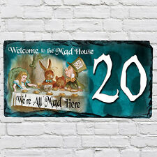 Custom alice wonderland tea party mad hatter house ardoise porte signe numéro AWS02