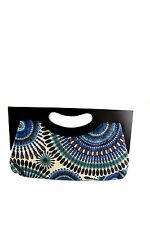 COLOURFUL CLUTCH BAG WITH WOODEN HANDLE HAND HANDBAG WOMENS LADIES BLACK BLUE
