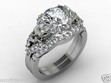 TWO SKULL ROUND CUT WHITE MOISSANITE 2.20CT 925 STERLING SILVER ENGAGEMENT RING