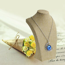 Mannequin Bust Linen Jewelry Necklace Pendant Neck Model Display Stand Holder
