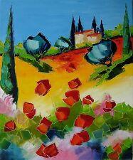 Grande toile de Nolac 61X50 cm tableau peinture couteau Provence coquelicots