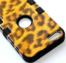 For iPod Touch 5th & 6th Gen -HARD&SOFT RUBBER HYBRID CASE BROWN LEOPARD CHEETAH