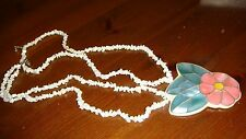 VITAGE MOTHER OF PEARL DOUBLE STRAND NECKLACE WITH INLAID FLOWER PENDANT ESTATE