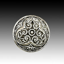 Vintage Glass Button Silver with Filigree Pattern 22mm 40002007