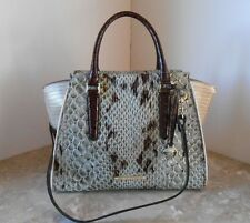 New BRAHMIN Priscilla Satchel Embossed Leather $415 STONE CARLISLE N7981500294