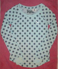 """Victorias Secret PINK """"I Only Sleep In Pink"""" Thermal Sleep Shirt w/ Dots & Dog M"""