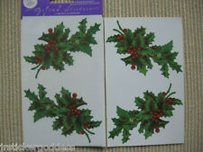 NIP Gifted Line Vtg Christmas Holly Stickers Berries Mistletoe John Grossman 4md