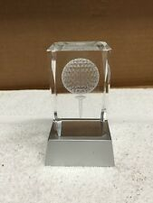 Golf Ball And Tee Laser Etched In Glass On Plastic 3 LED Stand