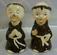 Vintage Praying Monks Salt And Pepper Shaker Ceramic S&P Set Sanmyro Japan
