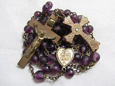 † STUNNING ANTIQUE GOLD WASHED PURPLE GLASS FACTED ROSARY W/ UNIQUE CROSS †