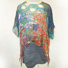 NEW NWT Cocoon House Klimt Garden of Sunflowers Georgette 100% Silk Top Large/XL
