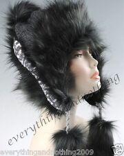 Laine faux fox fur hiver mongol chapeau ushanka trapper russian style noir