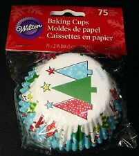Wilton CUPCAKE LINERS Total 75 Baking Cups Christmas TREES & SNOWMEN NEW