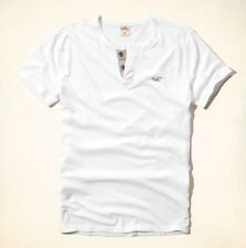 Hollister by Abercrombie Mens WHITE Surfers Point Henley T-Shirt Tee Top LARGE L