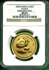 CHINA  PANDA  2000  NGC MS 69  1  OZ GOLD  MIRRORED RING  PANDA  100YUAN