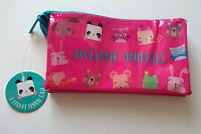 3-POCKET Awesome Animals PENCIL CASE PVC Plastic ZIP NET STORAGE POUCH Hot Pink