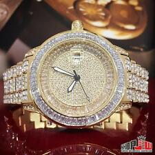 Mens BM Bling Master Royale Hip Hop Iced Out Watch Gold Finish Simulated Diamond