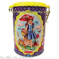 Wu & Wu Tea Tin - Vintage Style Girl and Parasol Storage Container