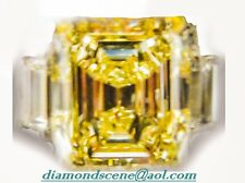 GIA CERTIFIED FANCY LIGHT YELLOW DIAMOND DIAMOND TWO TRAPEZOID ENGAGEMENT RING
