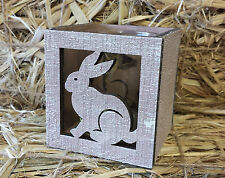 Rustic Wood Easter Bunny Rabbit T Light Candle Holder Gisela Graham Decoration