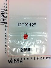 "12"" X 12"" ZIPLOCK PLASTIC BAGS 100 PIECE 2MIL GUARANGEE BUY WITH NO REGRETS"