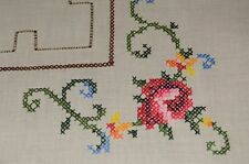SHABBY CHIC ROSES & CROCHET INSETS! VINTAGE MADEIRA HAND EMBROIDERED TABLECLOTH
