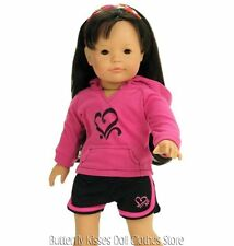 Heart Hoodie & Shorts Doll Clothes Made For 18 in American Girl Doll