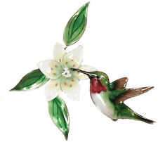 Hummingbird and Wood Lily Metal Bird Wall Art Decor Sculpture by Bovano #W442