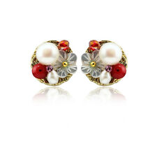 Natural Mother of Pearl Shell Crystal Stud Ear Earrings For Women Charm Jewelry