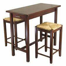 Winsome 3pc Kitchen Island Table with 2 Rush Seat Stools; 2 cartons 94374 New