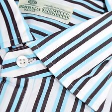 100% new LUIGI BORRELLI shirt white sky blue brown stripes 39 -15 1/2 160192