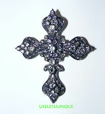 BLACK CHROME PLATED CROSS  PIN BROOCH  WITH RHINESTONES  #3335